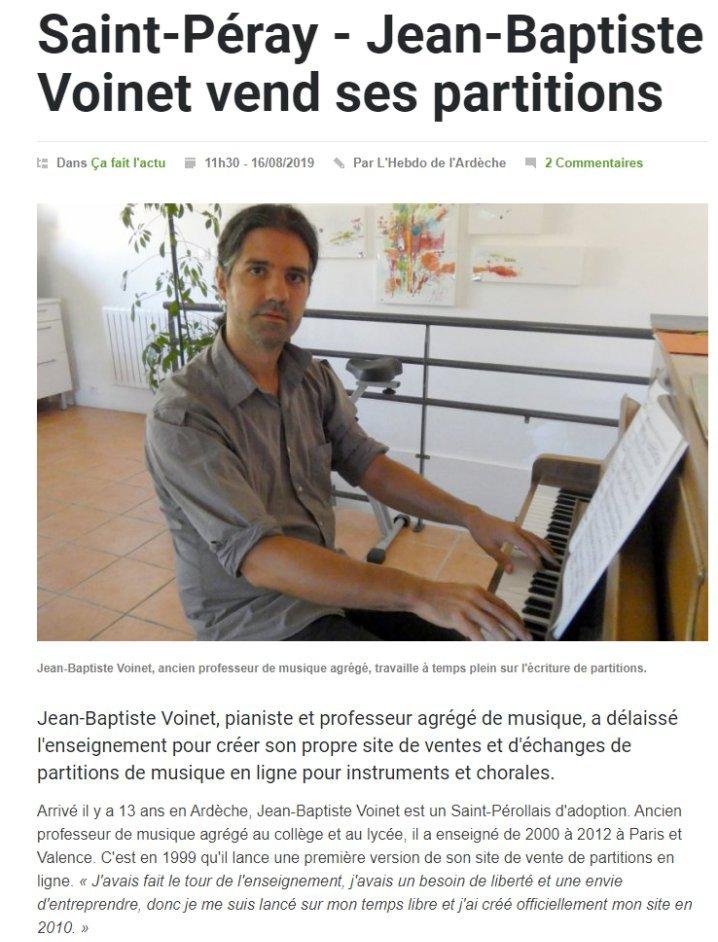 Jean-Baptiste Voinet dans l'Hebdo de l'Ardèche