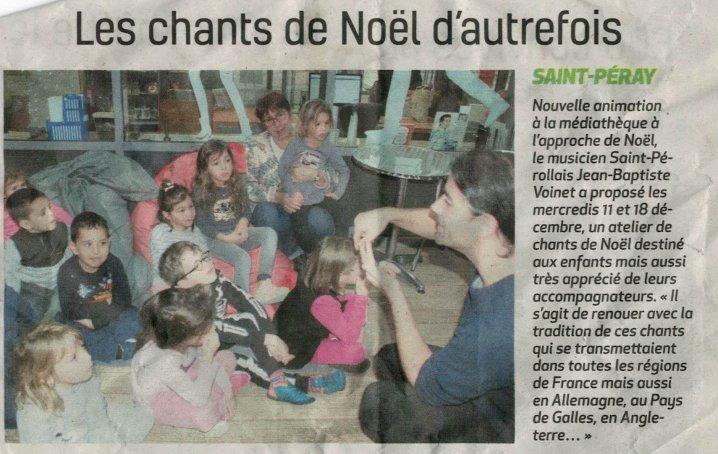Atelier chants de Noël à Saint-Péray, décembre 2019, article de journal